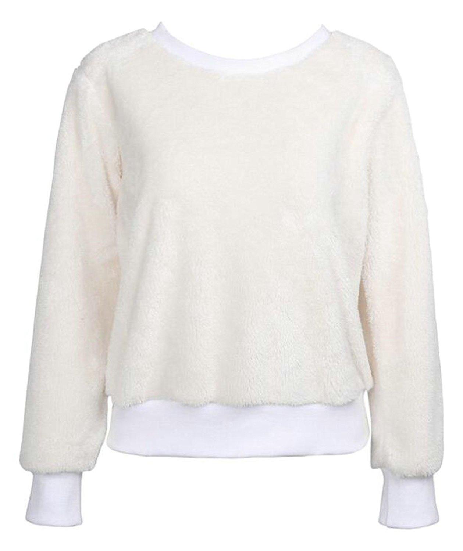 GenericWomen Generic Womens Casual Round Neck Fleece Wool Pullover Sweatshirt