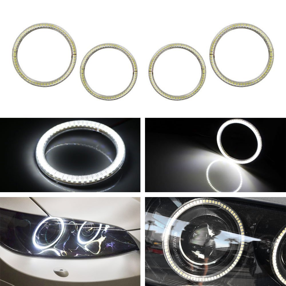 iJDMTOY 7000K Xenon White LED Angel Eye Halo Rings Kit For BMW E92 E93 3-Series 328i 335i M3 Coupe/Convertible Headlights (Retrofit Required)