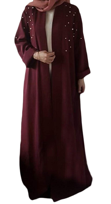 Fubotevic Mens Full-Zip Musliml Long Sleeve Plus Size Embroidery Middle East Abaya Kaftan Maxi Dress