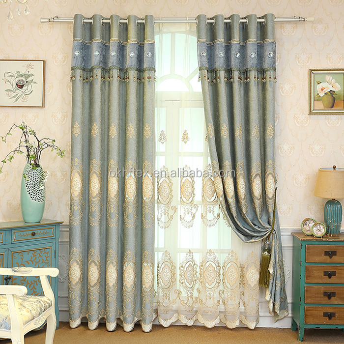 embroidery fabrics european style luxury curtains for living room