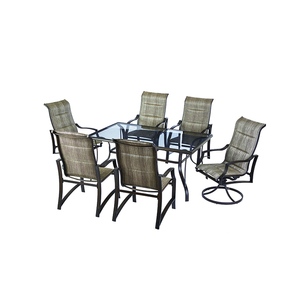 American style stock outdoor furniture steel 7pcs garden dining table set
