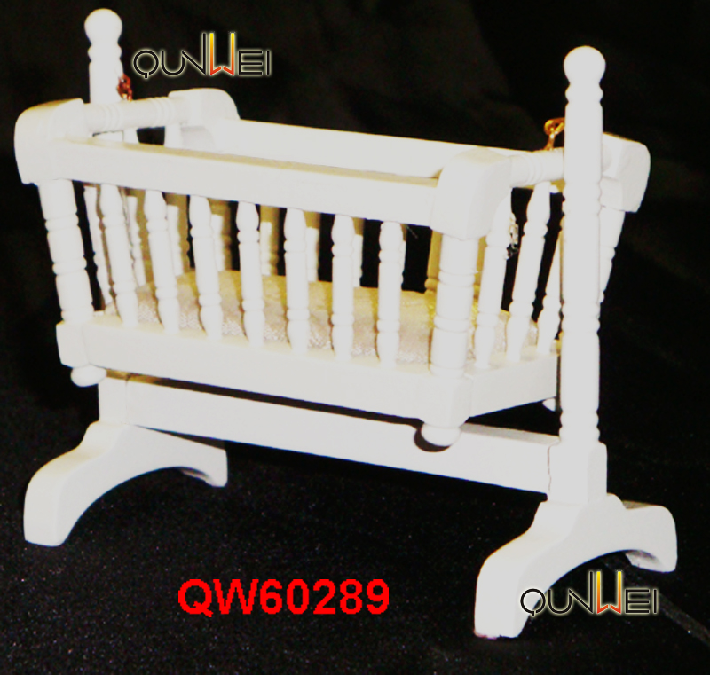 Wood Dollhouse Crib 1:12 Scale Baby Nursery Miniature Furniture Colorful Design