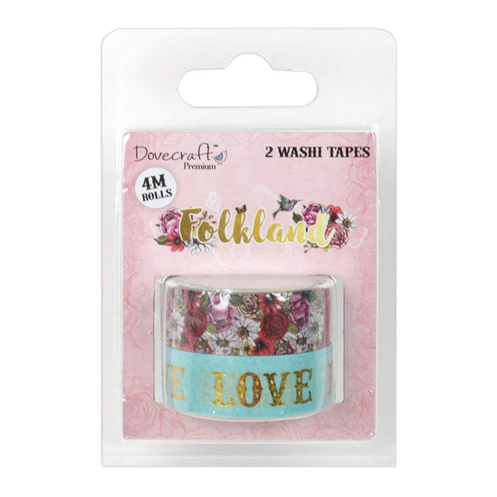 Dovecraft Premium Folkland Paper Craft Collection - Washi Tapes 2 x 4m