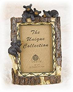 """10.5 Inch Tree Trunk Design with Black Bear Family 5 x 7"""" Photo Frame"""
