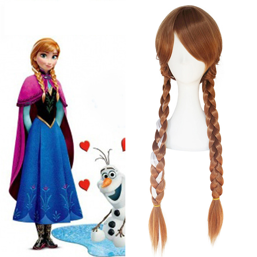 Synthetic Wig Braiding Hair Long Brown Frozen Anna Cosplay For Women