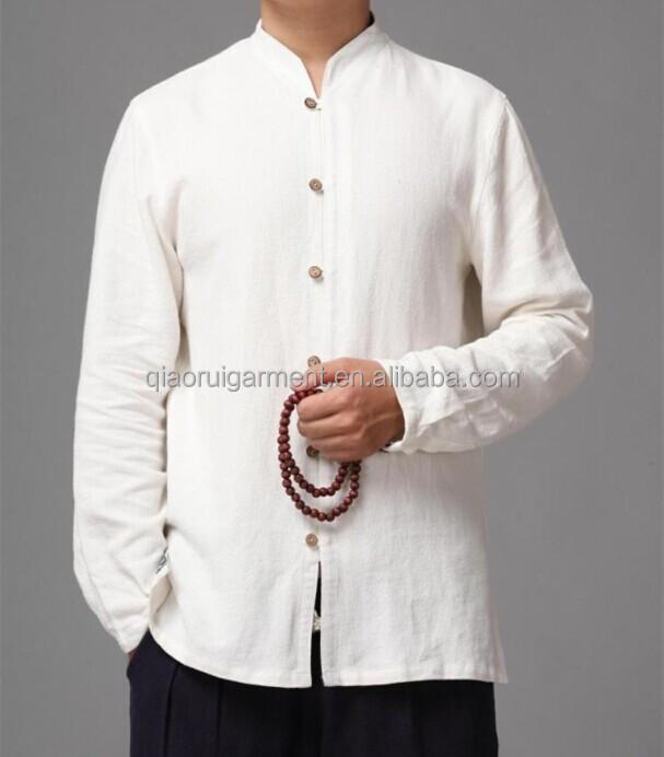 Heißer verkauf langarm chinesisches kragen weiß lässig leinenhemden ...
