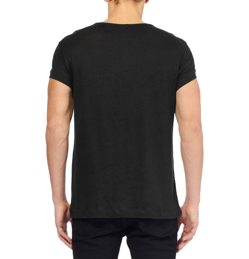 Black plain organic cotton t shirt wide neck men buy t for Model black t shirt