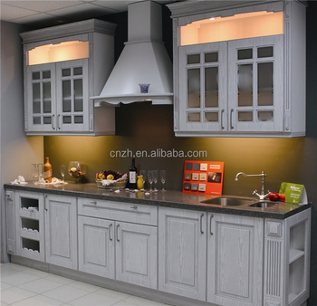PVC Vacuum Classic Grey Color Kitchen Cabinet With Glass Door