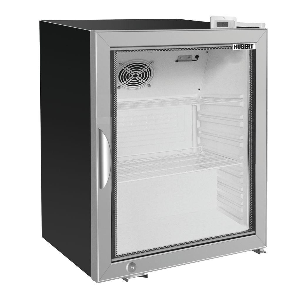 """HUBERT Glass Door Countertop Cold Food Merchandiser Refrigerator 4.1 cu ft Black - 24 13/32 L x 21 13/32 W x 28"""" H"""