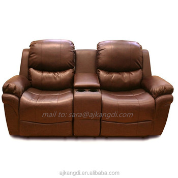 2 Seater Leather Recliner Sofa With Drinks Console/recliner Chair ...
