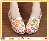 2016 Uniquely Grace printed fabric cute lips pattern online shoes
