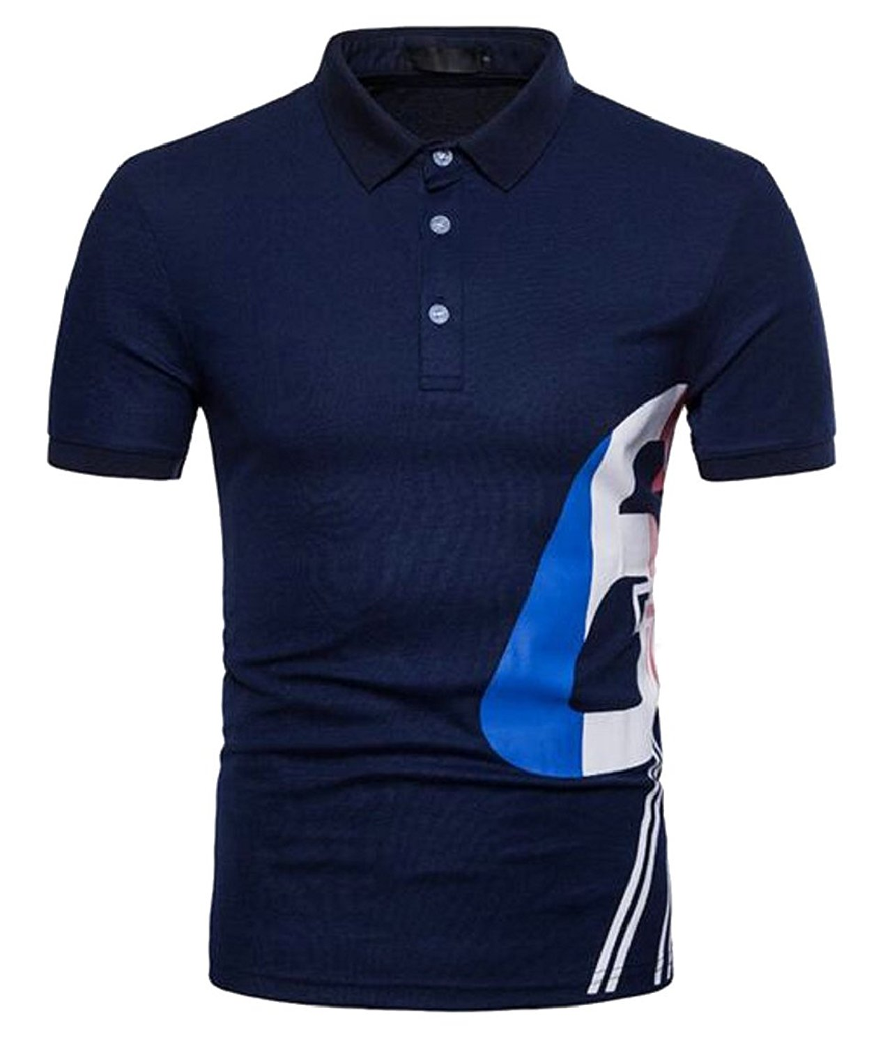 XiaoTianXin-men clothes XTX Men Turn-Down Collar Short Sleeve Letter Printed Slim Fitted Fashional Polo Shirt
