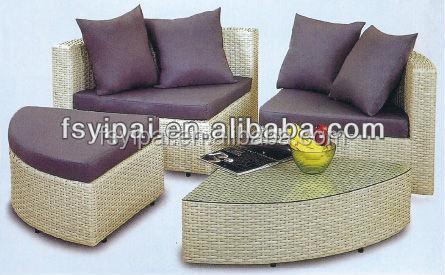 Yps048 moderno rattan balcón ronda sofas cama juego de living room ...