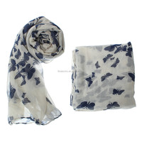 Beautiful women's colorful butterfly printed voile scarf long shawl