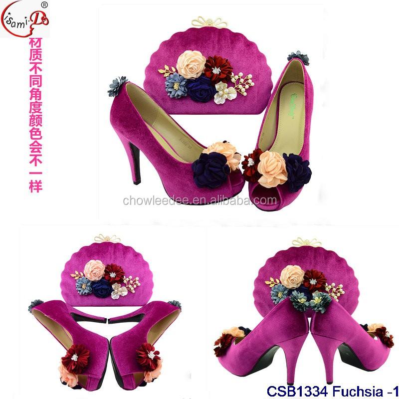 and bag 2017 Fuchsia party design set Fashion CSB1334 nigeria shoes wnwqfPZHRA