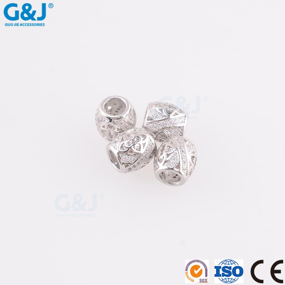 guojie brand Wholesale womens polishing 925 silver DIY beads charm for bracelet