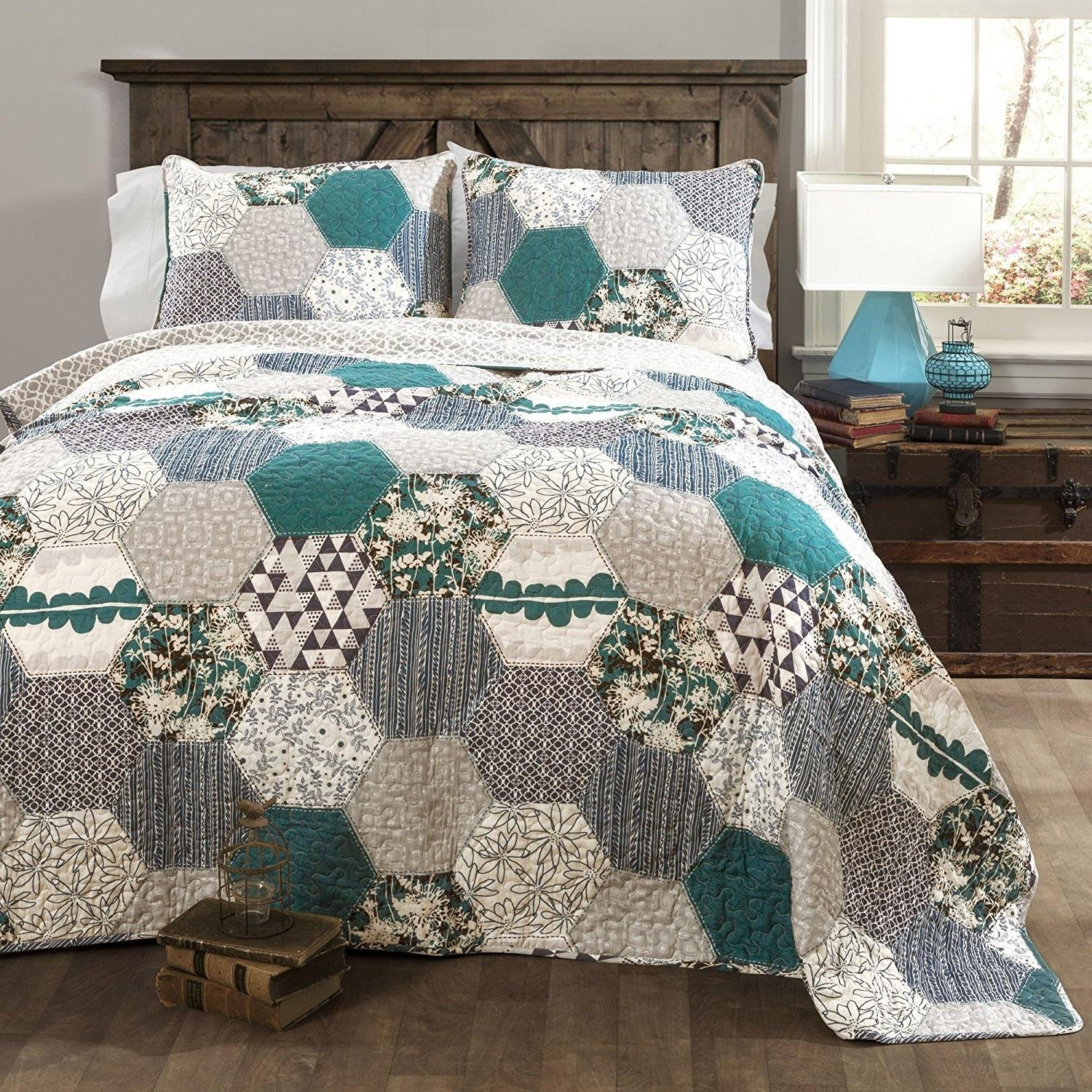 MISC 3pc Blue Floral Patchwork Full Queen Size Quilt, Gray White Octagon Shape Zig Zag Geometrical Grey Stripes, Cotton, Teal Geometric Striped Flower Design