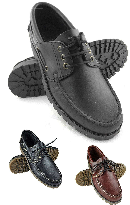 Zerimar Boat Shoes   Boat Shoes for Men   Boat Shoes Laces   Boat Shoes Leather   Color Black   Men shoes madden Size 9 US - 42 EU