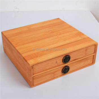 Bamboo Makeup Organizer Jewelry Drawers Storage Box