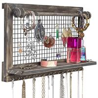 Rustic Jewelry Organizer with Bracelet Rod Wall Mounted l Wooden Wall Mount Holder for Earrings, Necklaces, Bracelets, and Many