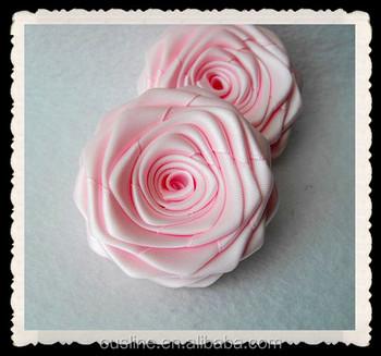 Wholesale Handmade Ribbon Rose Flowerfabric Craftframe Decoration