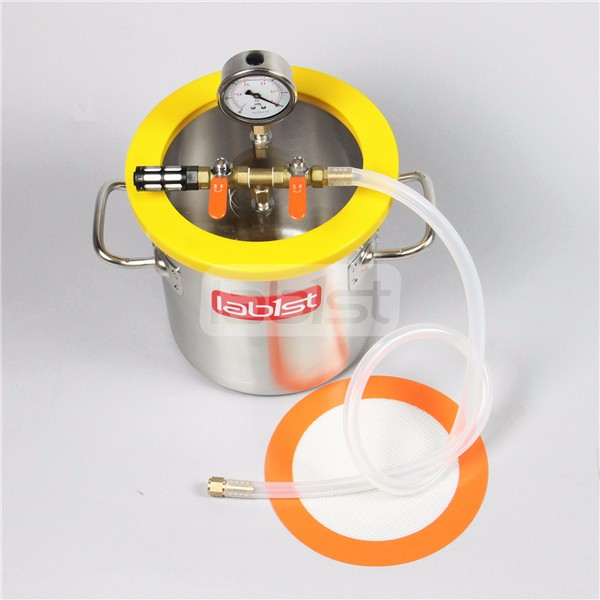 6.3 Liter lab stainless steel vacuum degassing chamber with polycarbonate Lid