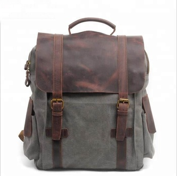 3ff6cb971a KMC6820-2 2019 New Top quality new design waxed canvas leather trim laptop  backpack back