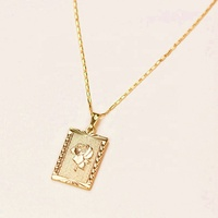 Accessories Jewelry 18k Gold Plated Stainless Steel Rose Pendant Necklace For Women Necklace Vendor