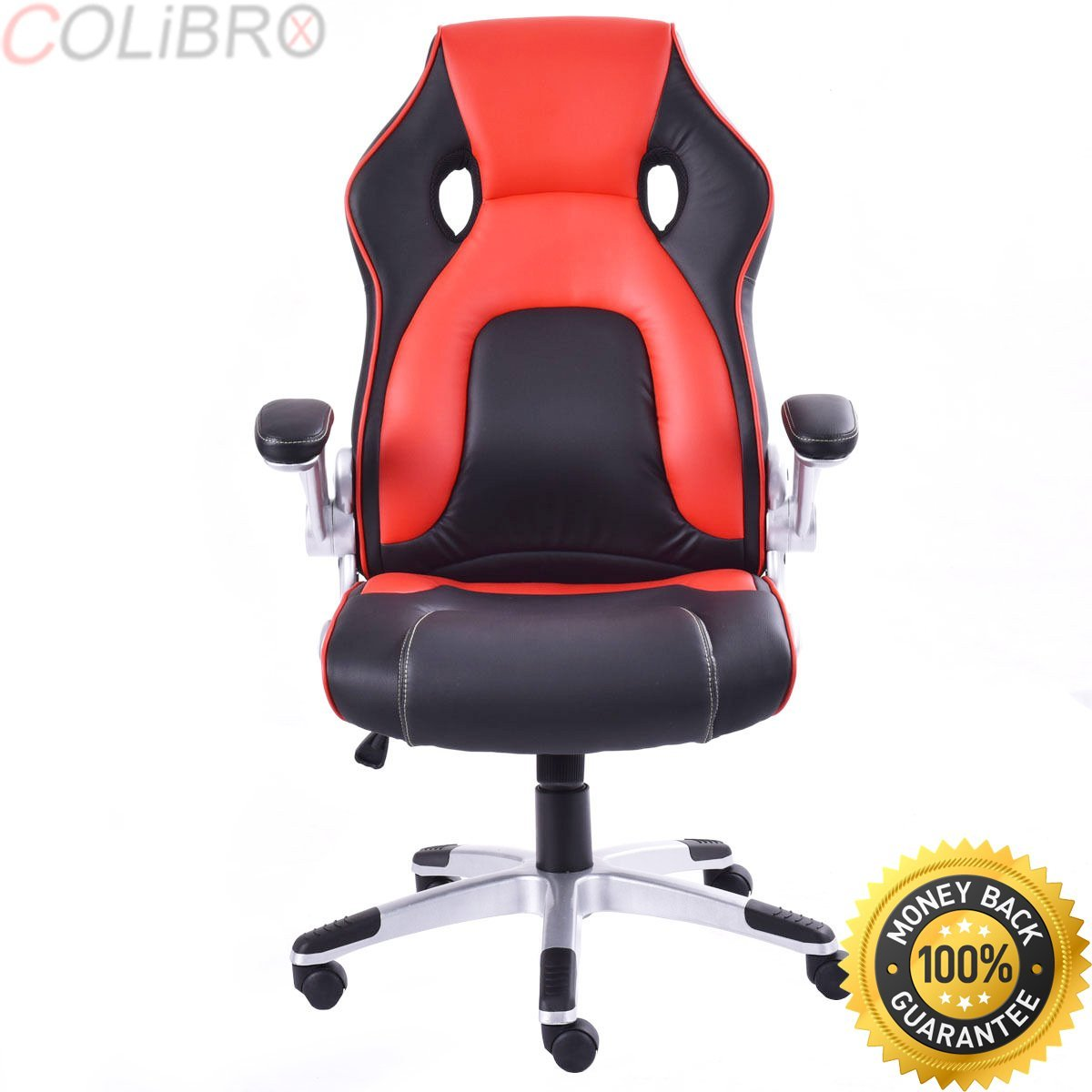 COLIBROX--PU Leather Executive Racing Style Bucket Seat Office Desk Chair Task Computer. leather executive racing style bucket seat chair. high back gaming chair executive swivel ergonomic chair.