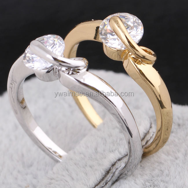 African Wedding Rings Gold Plated Zircon Stone Silver Ring Am J27030