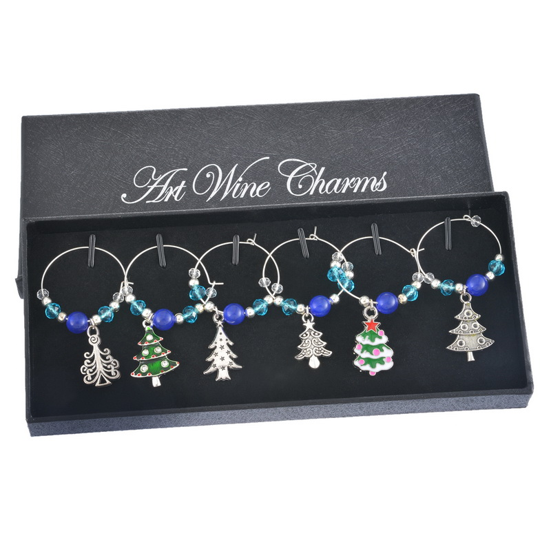 1Box Blue Beads Crystal Christmas Tree Enamel Pendant Wine Glass Charms Christmas Dinner Table Decoration 2016 New Year