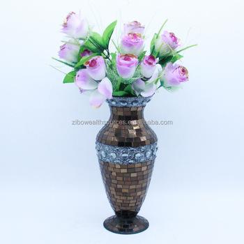 Ev Yapımı Vintage Tarzı çiçek Mozaik Cam Vazo Buy Vazocam Vazoev