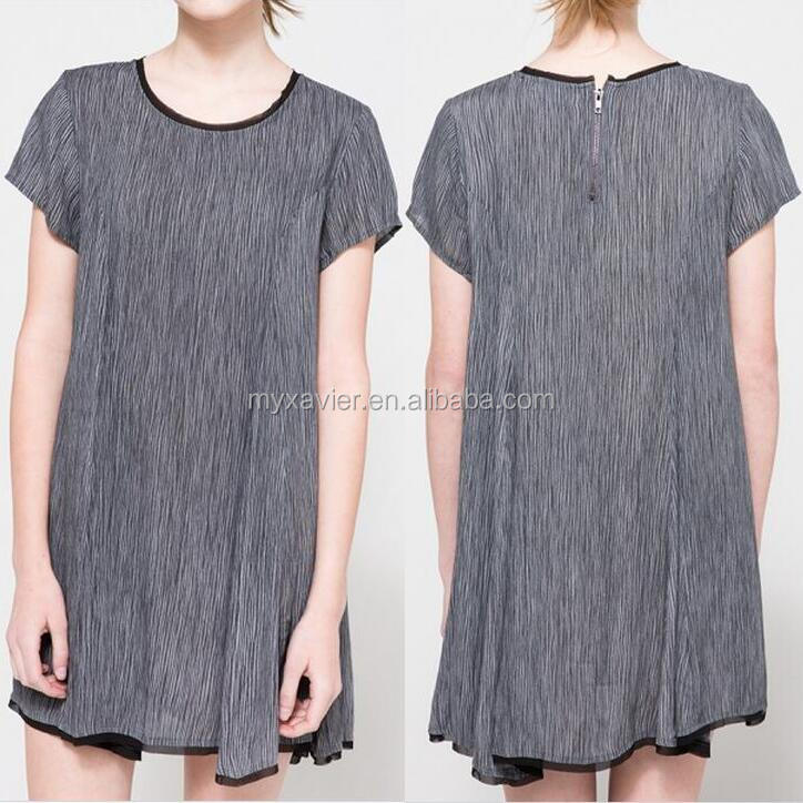 latest net dress designs with panel structure dress fashion allover organic stripe design new style dress