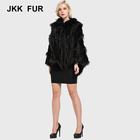 Nature Real Rabbit and Raccoon Fur Knitted Poncho Fashion Fur Poncho Shawls Lady's Cape