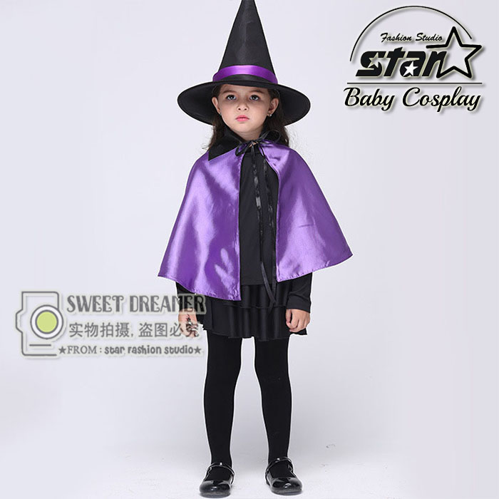 Halloween Cosplay Costumes Magic Girls Witch Performance Clothes With Purple Cloak Hat font b Fancy b