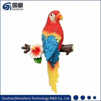 Custom Bird Lication Artificial Parrot Wall Decor