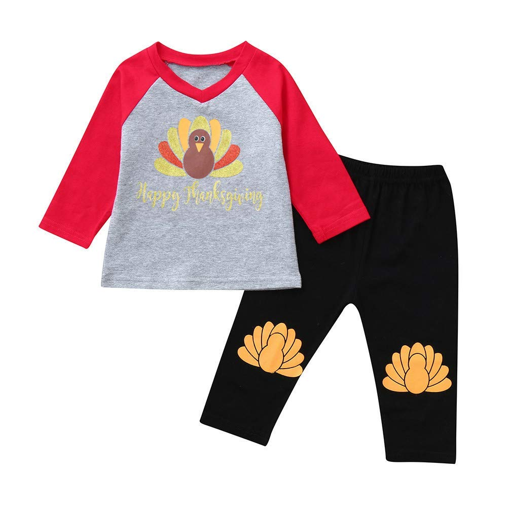 AutumnFall ��6Months-5 Years�� Thanksgiving Day Fall/Winter Baby Girls Outfits ''Happy Thanksgiving'' Letter Turkey Tops Pants Children Clothes (Age:18-24 Months, Gray)