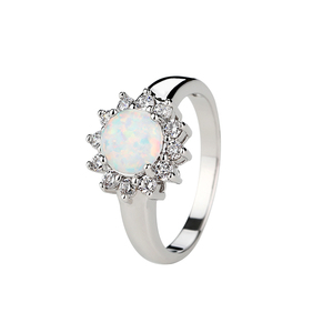 Rhodium Plated 925 Sterling Silver Opal Wedding Ring with Zircon for Women