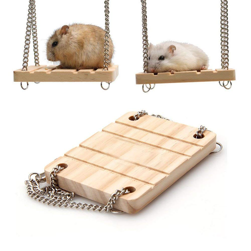 NNDA CO Hamster toys,Pet Hamster Toys Wooden Swing Seesaw Rat Mouse Harness Parrot Hanging Suspension,Wood