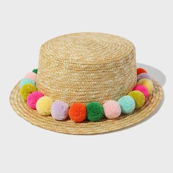 21f38f39 Wholesale Vintage Ladies Pom Pom Kids Straw Boater Hat Cheap Sale ...