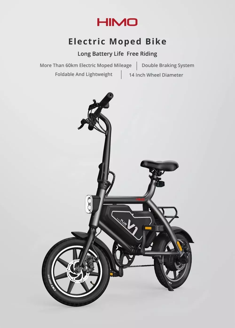2019 New Xiaomi HIMO V1 Plus Portable Folding Electric Moped Bicycle 250W- Grey