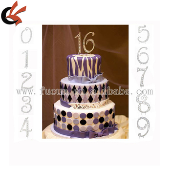 Silver Rhinestone 16th Decoration Sweet Sixteen 16 Birthday Number Cake Topper