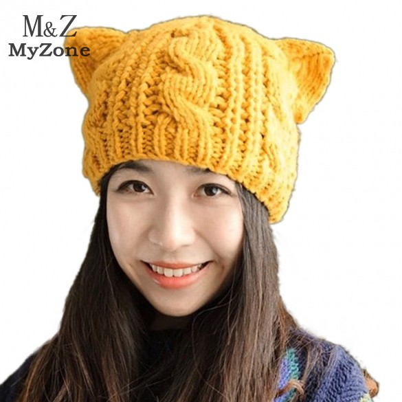 254c85f82e980 Get Quotations · 2014 New Korean Style Women Lady Devil Horns Cat Ear  Crochet Braided Knit Ski Beanie Wool