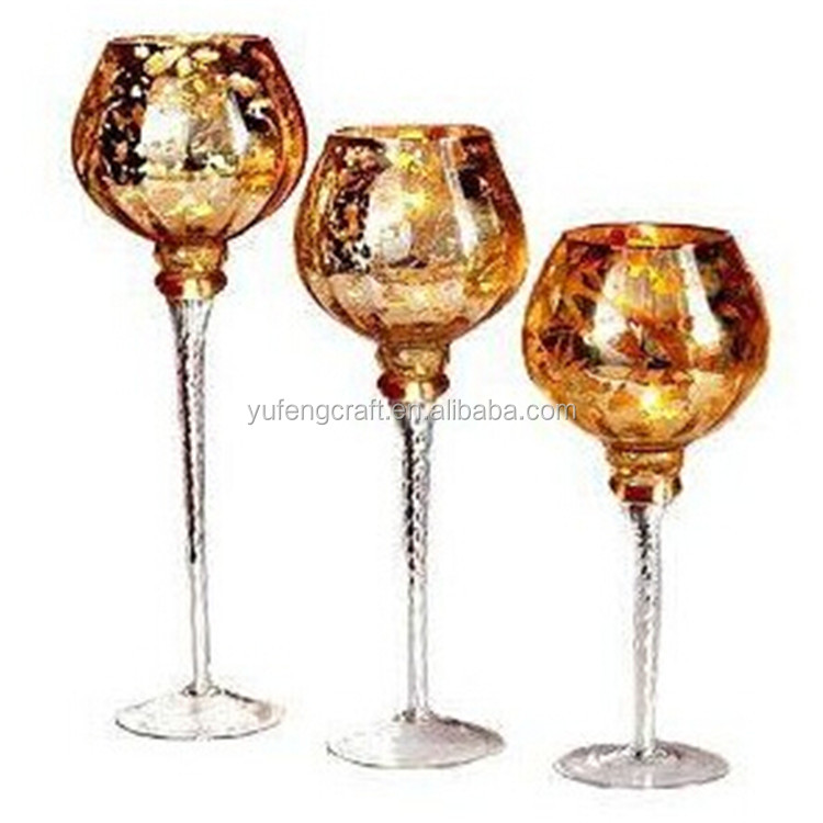 gold mercury glass u0026 gold mercury glass goblet holiday candle holder set from collections for wedding - Gold Candle Holders