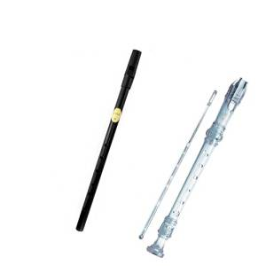 My First Recorder / Penny Whistle Pack -BPA FREE Clear Translucent Recorder w/Black Tin Penny Whistle