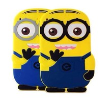 Soft Cute Cartoon tablet PC Accessory for Apple iPad 4 3 2 Despicable Me Minion Rush Silicone protective Back Cases Cover