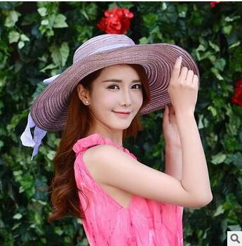 0b89ef0a48d Fashion Summer Women Folding Sun Hat Female Waves Large Brim Beach Cap  Bowknot Floppy Straw Hat