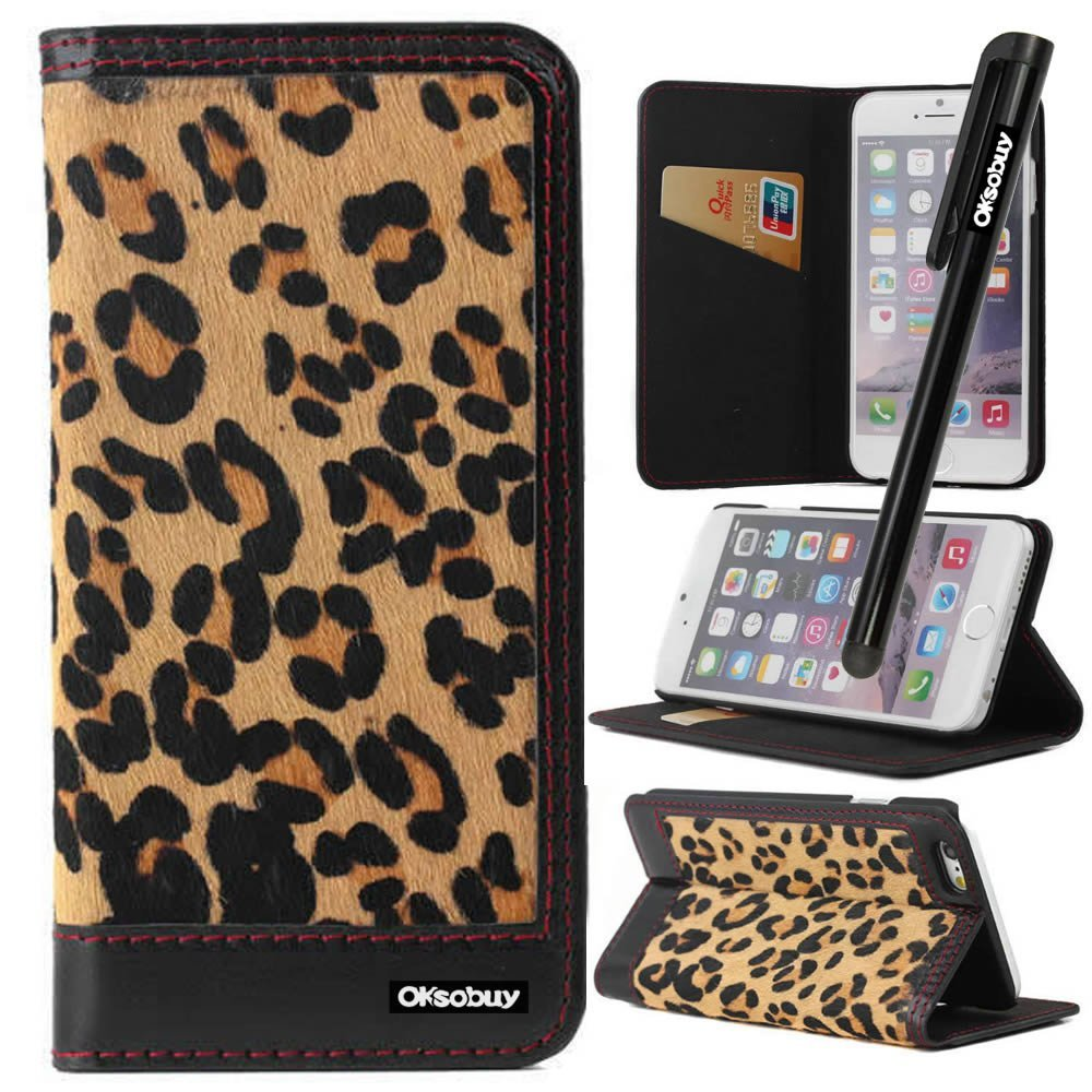 OkSoBuy® Apple iPhone6 case (4.7 inch)Leather Wallet Magnet Bracket Combo Credit Card Holder Slots For Apple iPhone 6(Apple Iphone 6 case)with Screen Protector and Stylus (Phone Leopard)