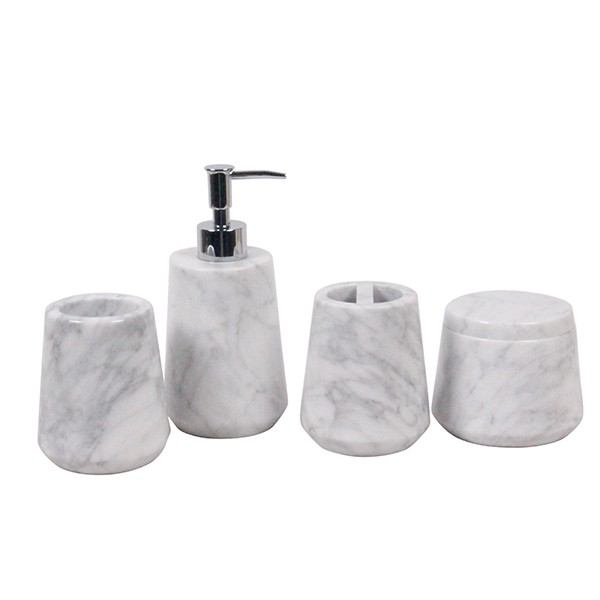 6pcs black marble bath ware natural stone bathrooms sets for Marble bathroom bin