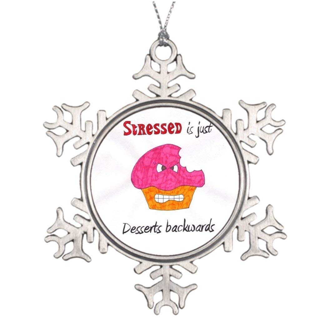 Sedlockyvq Xmas Trees Decorated Stressed is just Desserts backwards pin Ball Snowflake Ornaments
